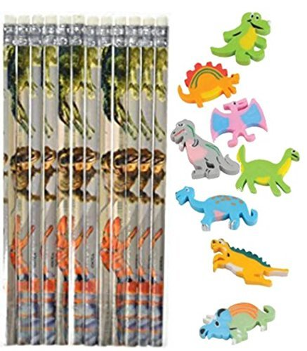 Nikki's Knick Knacks Dinosaur Themed Pencils and Erasers - 24 Count Each