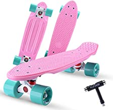 Playshion Complete 22 Inch Mini Cruiser Skateboard for Beginner with Sturdy Deck Pink/Green