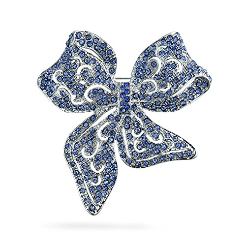 Bling Jewelry Grande Vintage London Blu Ribbon Dichiarazione Aperta Cristallo Wedding Arco Spilla Pin per Donne Placcato in Argento