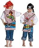 Spieleshirt Pirat Piratenshirt Shirt Seeräuber Pirates T-Shirt für Kinder Piraten Freibeuter Karibik Kindergeburtstag Gr. 104, 116, 128, 140, 152, Größe:140