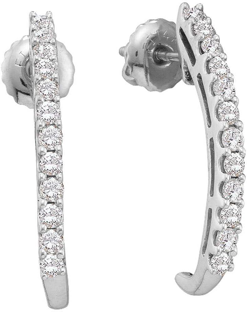 14K Free Shipping Cheap Bargain Gift White Gold Womens Round Diamond Year-end gift J Earrings Half 1 Ctt 2 Hoop