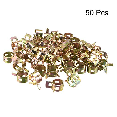 uxcell 15mm 5/8inch Spring Band Type Action Fuel/Silicone Vacuum Hose Pipe Clamp Low Pressure Air Clip Clamp 50pcs