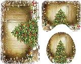 Navidad baño Mats Set, Baño Mats Set, for decoraciones de Navidad, Cuarto de baño elegante suave, E, 3SET, Tamaño: 4SET, Color: D (Color : A)