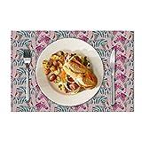 Eloria - Set di 6 tovagliette da tavolo resistenti al calore, in tela di cotone, colore pesca, 40 x 30 cm