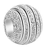 Andante-Stones - Original, Plata de Ley 925 sólida, Cuenta de Plata Stardust, Elemento Bola para Cuentas European Beads + Saco de Organza
