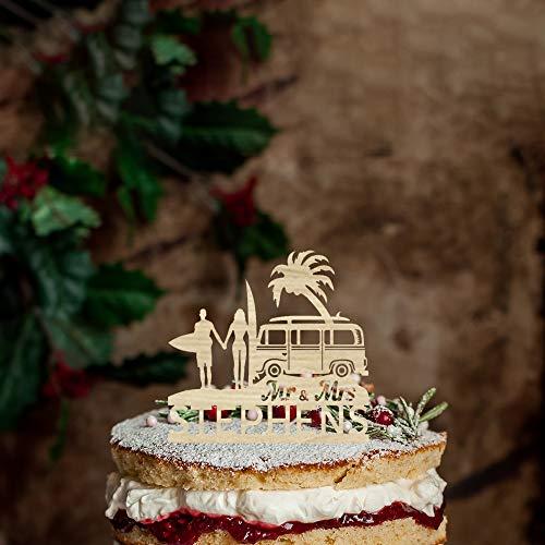 Rustieke Camper Silhouette Bruiloft Taart Topper, Gepersonaliseerde Naam Taart Topper,Mr &Mrs Bruiloft Topper met Bruid en Groom voor Verjaardag