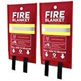 Alorva - 2 x Fire Blankets with Silicone-Coated Fiberglass Cloth for Rapid Fire Suppression – Hi-Viz, 40 x 40 inch – Reinforced Stitching for Max Protection – Firefighter Designed and Tested
