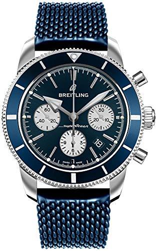 Breitling Superocean Heritage II B01 cronógrafo 44 reloj de acero para hombre en azul Aero Classic correa de goma AB0162161C1S1