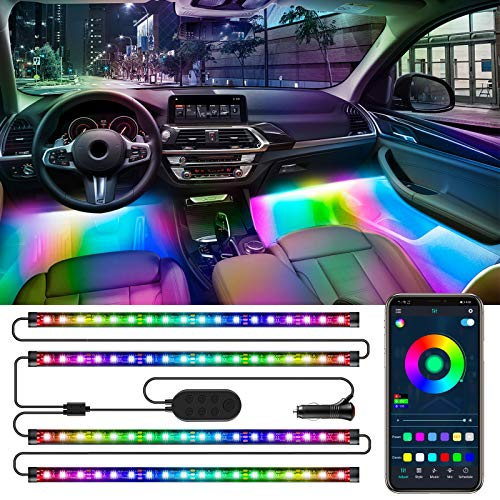 Wixann RGBIC Auto Led innenbeleuchtung, 4pcs 72 LED Auto LED Strip, Magie Mehrfarbig Regenbogenfarben Musik Synchronisiert Wasserdicht, APP Steuerbare Ambientebeleuchtung mit Zigarettenanzünder, 12V