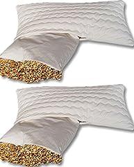Podwójne opakowanie organiczne orkisz poduszki komfort 4080 cm - pyłoszczelna bawełniana poszewka poduszki (wlot poduszki) - z organicznym orkiszem futra i zdejmowaną zmywalną bawełnianą pokrywą z zamkiem błyskawicznym