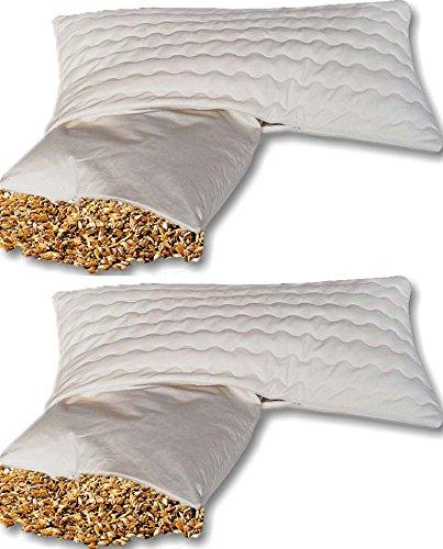 Doppelpackung Bio Dinkelkissen Komfort 40*80 cm - staubdichte Baumwoll Kissenhülle ( Kissen-Inlett ) - mit BIO Dinkelspelz Füllung und abnehmbarem waschbarem Bezug aus Baumwolle mit Reißverschluss