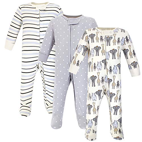 Hudson Baby Unisex Baby Cotton Sleep and Play, Royal Safari, 0-3 Months