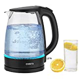 CHINYA Electric Kettle,1.7LCordless with LED Light, Premium Borosilicate Glass Tea Kettle Fast Boiling,BPA-free,Auto Shut-Off & Boil Dry Protection, Electric Hot Water Kettle for Tea and Coffee, Beverages,120V,1500W