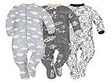 Sibinulo Niño Niña Pijama Bebé Pelele de ABS Pack de 3 Nubes, Cosmos y Elefantes Negros 92(18-24 Meses)