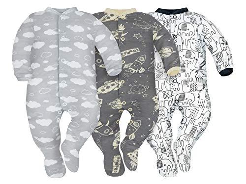 Sibinulo Jungen Mädchen Schlafstrampler mit ABS 3er Pack Wolken, Kosmos und Schwarze Elefanten 92(18-24 Monate)