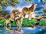Pintura de diamante 5D animales de invierno DIY bordado de diamantes Lobo recién llegado mosaico de pasatiempo hecho a mano diseño completo arte de pared A3 45x60cm