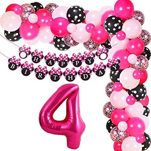 Minnie 4th Birthday Decorations Party Supplies - Kit de arco de guirnalda de globos para niñas de 4 años con pancarta de feliz cumpleaños Número 4 Globos de látex de confeti