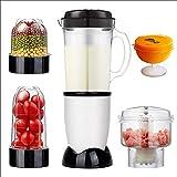 Combinación de procesador de alimentos 5 en 1 y exprimidor, licuadora de alta velocidad con taza de carne molida/taza de jugo/taza de molienda/taza de suplemento de micro alimentos/taza de batido