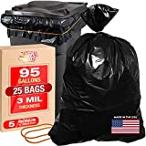 """95 Gallon 3 Mil Heavy Duty Trash Bags - 25pk Black Contractor Garbage Can Liner for Trash, Storage, Yard Waste, 61 x 68 Commercial Use Industrial Grade Construction Bags w 30"""" Rubber Bands"""