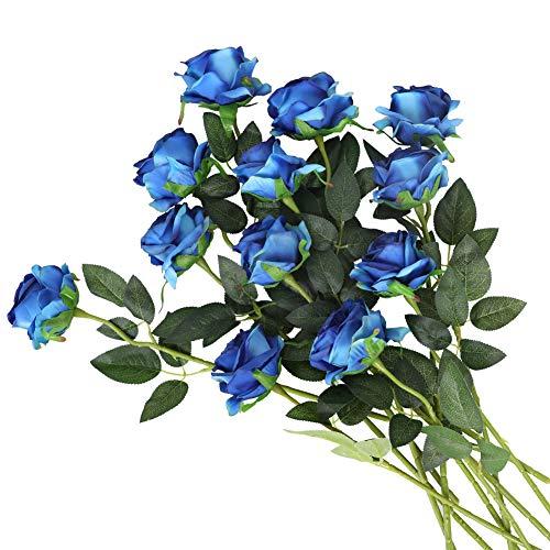 Kisflower 12Pcs Roses Artificial Flowers Realistic Single Stem Flowers Silk Rose Bouquet for Wedding Party Office Home Decor (Gradient Blue)