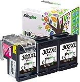 Kingjet Remanufacturée 302XL Cartouches d'encre remplacement pour HP 302 XL pour HP Deskjet 2130 3630 3632 3636 Envy 4520 4525 4527 4524 Officejet 3830 3834 4650 4651 4652 4652 4652XL 4654 (3 noir)
