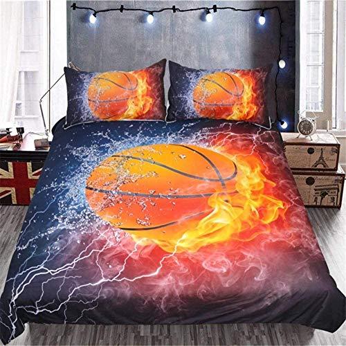 XQBHH Juego de cama de 3 piezas, funda de edredón de baloncesto impresa en 3D, diseño de llama roja y hielo
