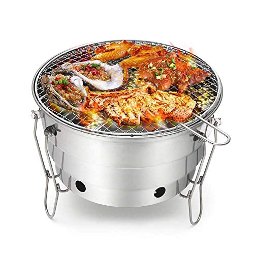 LYYJIAJU Portable Ceramic Grill, Foldable Barbecue Grilling Charcoal Oven, Stainless Steel Cooking Outdoor Camping Burner Patio Stove Family Party