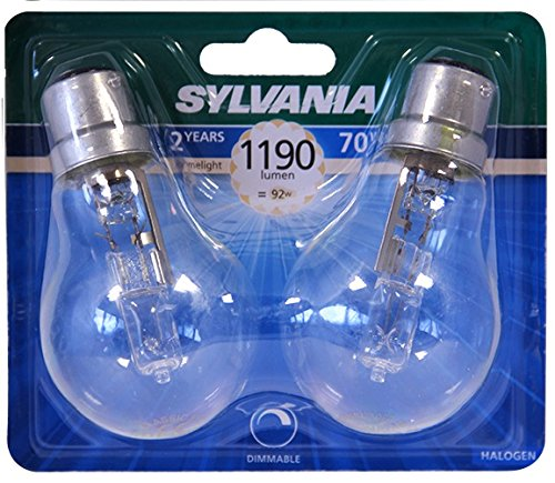 Sylvania syl0023577Classic Eco Halogen-Glühbirne A55Aluminium 70W B22weiß