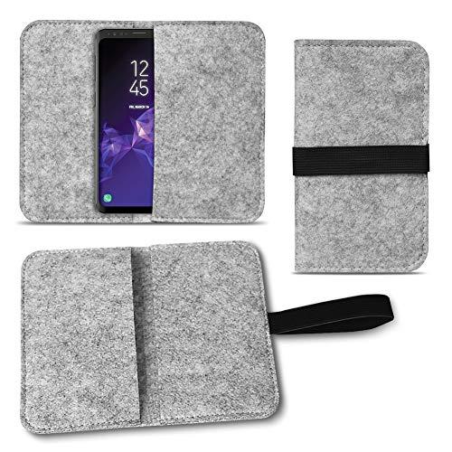 UC-Express Filz Tasche kompatibel für Samsung Galaxy S20 S10 S9 Lite Plus A40 A41 A21 A21s A51 Hülle Cover Handy Case Schutzhülle, Farben:Hell Grau
