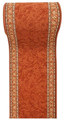 WE LOVE RUGS CARPETO Läufer Teppich Flur - Modern Muster - Rückseite aus Gummi Anti-Rutsch - Kurzfloor Teppichläufer nach Maß - Gel-MAX Kollektion Braun Orange 80 x 200 cm