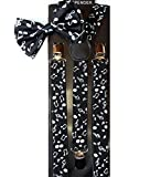 Leema Men's Awesome Clipon Music Notes Print Bowtie And Matching Suspenders Set One SIze Black With White Music Notes