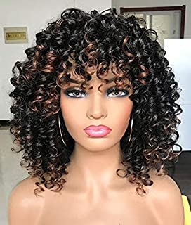 PRETTIEST Afro curly Wigs Black with Warm Brown Highlights Wigs with Bangs for Black Women Natural Looking for Daily Wear...