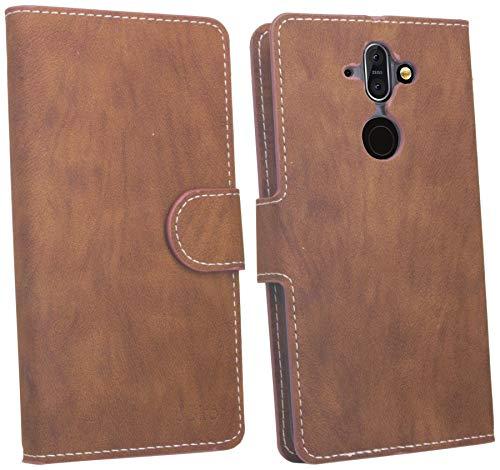 cofi1453 Elegante Buch-Tasche Hülle kompatibel mit Nokia 8 Sirocco in Braun Leder Optik Wallet Book-Style Cover Schale