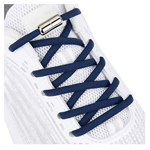Elastic Shoe Laces for Kids and Adults Sneakers,Elastic No Tie Shoelaces Navy Blue