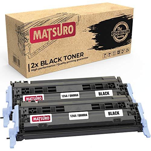 Matsuro Original | Compatible Cartucho de Toner Reemplazo para HP Q6000A Q6001A Q6003A Q6002A 124A CRG-707 (2 Negro)