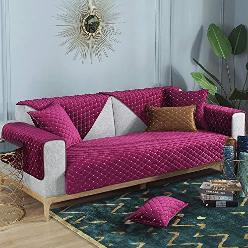 YUTJK Samt Sofabezug, Soft Velvet Couchbezug stilvolle Luxus-Möbelbezüge Anti-Rutsch-High Sesselbezug, Soft Thick Velvet Sofabezug, für Frühling Herbst, lila