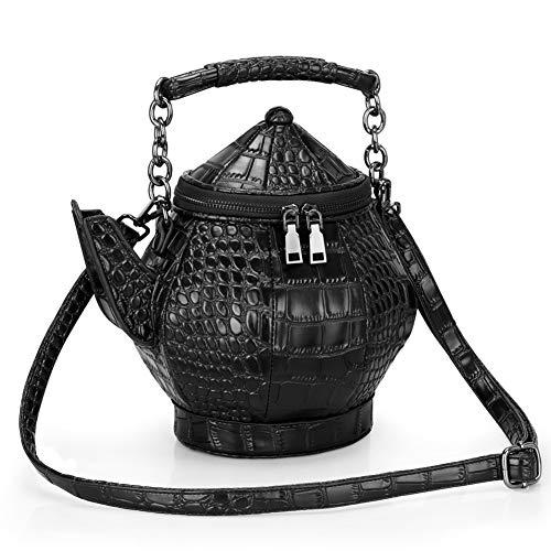 AQD 3D Flachmann Tasche Teekanne Tasche Umhängetasche PU One-Shoulder-Wasserkocher Tasche Portable PU weiblichen Beutel Persönlichkeit 3D Outdoor Freizeit Handy Handtasche