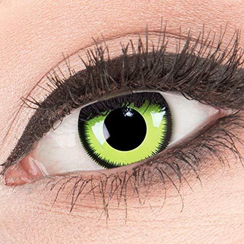 MeralenS ein Paar farbige Crazy Fun grüne lunatic Green Lunatic schwarzer Rand Jahres Kontaktlinsen. Perfekt zu Halloween, Karneval, Fasching oder Fasnacht mit gratis Kontaktlinsenbehälter ohne Stärke!
