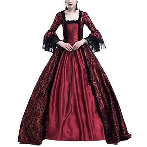 LaoZanA Disfraz De Medieval para Mujer Vestido Renacentista Traje De Princesa Vino Rojo S