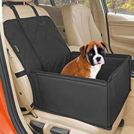 Extra Stable Dog Car Seat – High-Quality Car Dog Seat or Puppy Car Seat for Small to Medium-Sized Dogs – Reinforced Walls and 3 Belts – Waterproof Pet Car Seat for Back and Front Seat