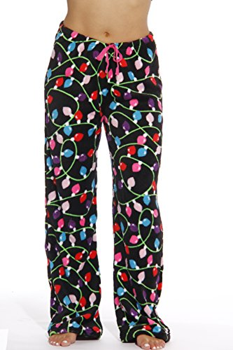 6339-10122-S Just Love Women's Plush Pajama Pants - Petite to Plus Size Pajamas,Black - Light Up,Small