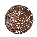 Sfera decorativa in metallo marrone ruggine, fiori intrecciati, 33 x 33 cm