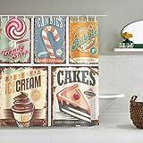 Kgblfd Cortina de Ducha Impermeable,Imagen nostálgica Vintage de la Tienda de golosinas de los años 50 e Imagen de Helado y Pastel y Chicle,Cortinas de baño con 12 Ganchos,tamaño 180 x 210cm