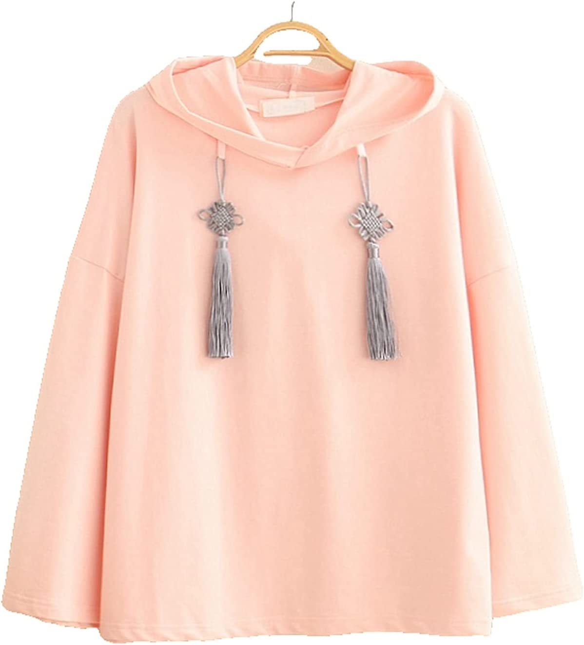 Esdlajks Kawaii Hoodie for Womens - Chinese Style Cuff Chinese Character Embroidery Chinese Knot Tassel Hoodie (Color : Pink, Size : One Size)