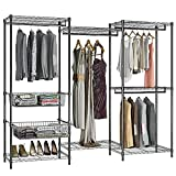 VIPEK 5-Tiers Wire Garment Rack Heavy Duty Clothes Rack Large Size Armoire Storage Rack with 4 hanging Rods, 7 Wire Shelves and 2 Slid Baskets, 85.8'L x 17.7'W x 70.9'H, Max Load 794 LBS, V10P Black