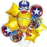 BAIBEI 10 Stück Superheld Geburtstag Deko Set für Kinder, 6 Zoll Aluminiumfolienballon mit Comic-Bilder, Happy Birthday Dekoration, Avengers Party Dekorationen
