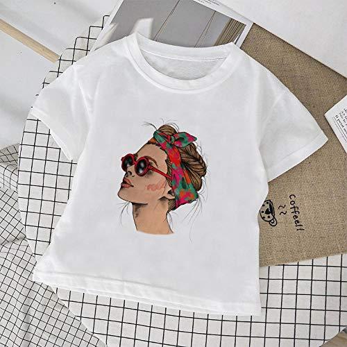 DAJUZI Streetwear Harajuku T-Shirt Mädchen Grafik Coole Damen Gedruckte Mode Mädchen Jungen T-Shirts Unisex O-Ausschnitt Kurzarm Kinder T-Shirt 7T 1892