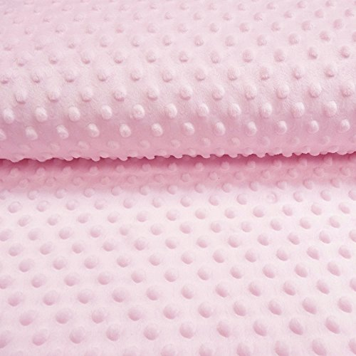 Tessuto Minky Ultra morbido, motivo a Pois rosa