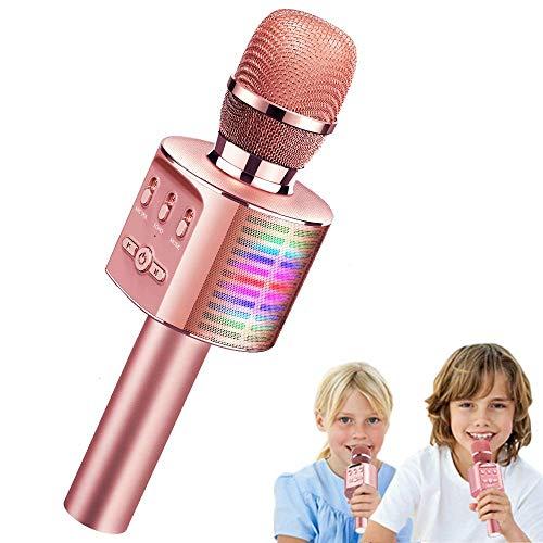 Tecboss Micrófono Karaoke Bluetooth con LED Luz Colores,Microfono Inalámbrico Karaoke Portátil Bluetooth Altavoz para Home KTV, Bares,Compatible con Android & iOS Devices PC o Teléfono Inteligente