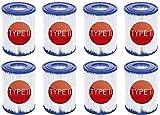 SSIN Cartucho de filtro de piscina tipo II para Bestway II, accesorios de filtro de limpieza de piscina inflables de repuesto para limpieza de alberca de tubos (paquete de 8)